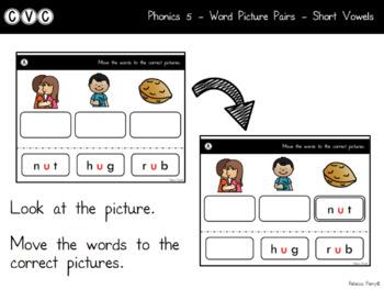 Digital Center - CVC Short Vowel U (Google Classroom) - Word Picture Pairs