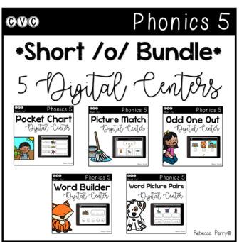 Digital Centers - CVC Short Vowel O (Google Classroom) - Phonics 5 Bundle!