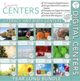Digital First Grade Centers | Math and Literacy Year Long Bundle | Volume One