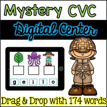 Digital Centers Mystery CVC Words for Google Classroom / One Drive