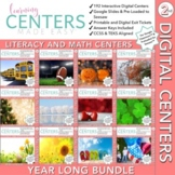 Digital Second Grade Centers   Math and Literacy Year Long Bundle   Volume One