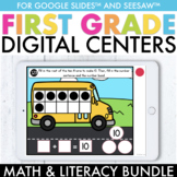 Digital 1st Grade Math & Literacy Centers Bundle | Google Slides ™ & Seesaw ™