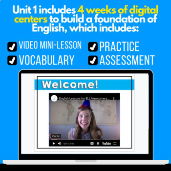 Digital Centers for ELL Newcomers {Unit 1}