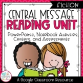 Digital Central Message Fiction Reading Unit With Centers for Google Classroom