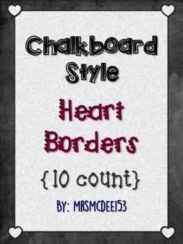 Digital Chalkboard Style Heart Border Frames {10 count}