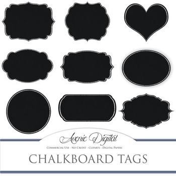 Chalkboard tags clip art Scrapbook printables, blackboard frames labels clipart
