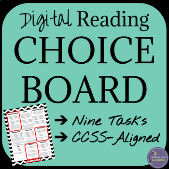 Fiction Reading Choice Board Digital Activities for Literature, CCSS-aligned