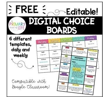 Digital Choice Board Gameboard Templates Freebie Distance Learning