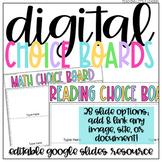 Digital Choice Board Templates   Google Slides   Editable