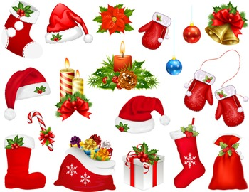 Digital Christmas Clip Art Christmas Hat Christmas Glove Christmas Stocking 0008