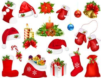 Digital Christmas Clip Art Christmas Hat Christmas Glove C