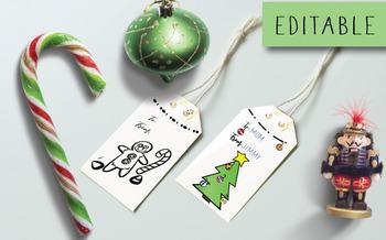 Digital Christmas Coloring Gift Tags or Labels Customizable DIY Xmas Present
