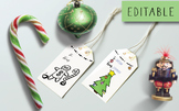 Digital Christmas Coloring Gift Tags or Labels Customizabl
