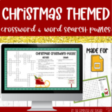 Digital Christmas Crossword and Word Search Puzzles in Google Slides