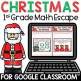 Digital Christmas Escape Room 1st Grade Math Review for Go