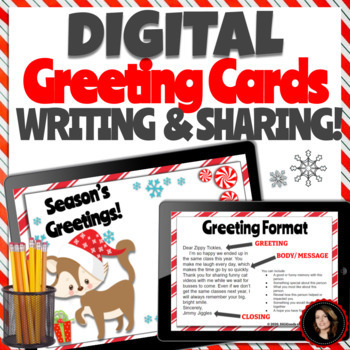 Digital Christmas Cards.Google Classroom Activities Writing And Sharing Greeting Cards