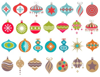 Digital Christmas Ornaments Clip Art Red Blue Silver Gold