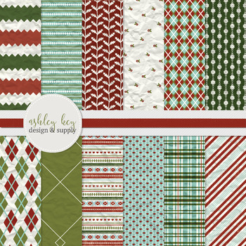 Digital Christmas Papers, Commercial Use Papers for Seller