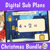 Digital Christmas Sub Plans Bundle for Kindergarten