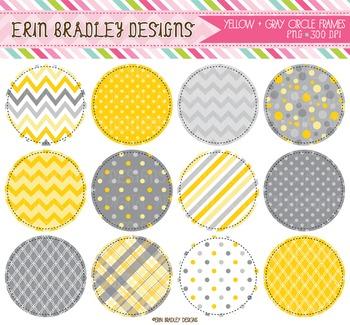 Digital Circle Frames Clipart - Yellow & Gray