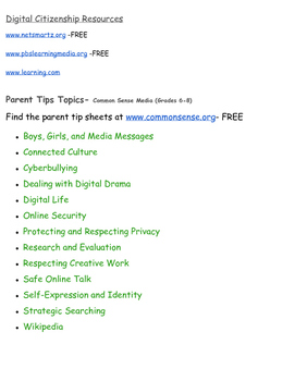 Digital Citizen Resources & Parent Tips (K-12)