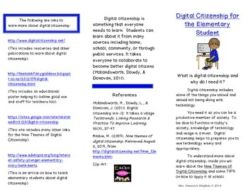 Digital Citizenship Brochure for Elementary Students