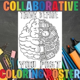 Digital Citizenship CLASS COLLABORATIVE Coloring POSTER, WRITING, BACK TO SCHOOL