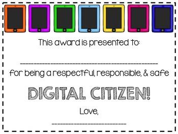 Digital Citizenship Certificate FREEBIE