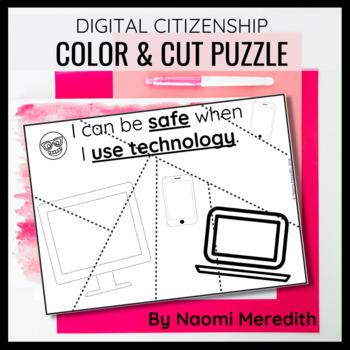 Digital Citizenship Color & Cut-Out Puzzle