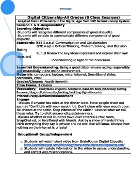 Digital Citizenship Detailed Lesson-with handouts