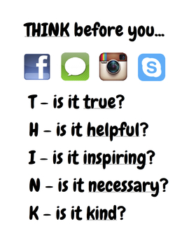Digital Citizenship Poster - Think Before You...