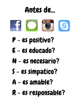 Digital Citizenship Poster - Think Before You...SPANISH