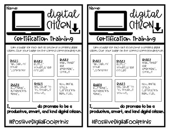 Digital Citizenship Rule Posters and Certification Game