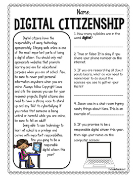 Digital Citizenship Reading Passages By The Techie Teacher