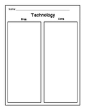 Digital Citizenship Technology Pros and Cons T-Chart / Graphic Organizer