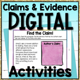 Claims and Evidence Digital Task Cards for Google Classroom