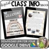 Digital Class Info Flipbook | Boho Rainbow | Distance Lear