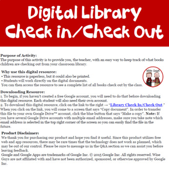 Digital Class Library Student Checkout Using Google Forms