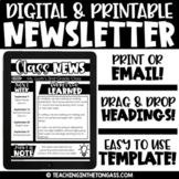 Newsletter Template Editable | Printable & Digital | Google Classroom Activities