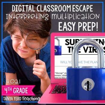 Digital Classroom Escape Math Digital Escape Room 4.OA.1 4th Grade