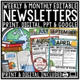 Digital Classroom Monthly & Weekly Newsletter Template Editable Back to School