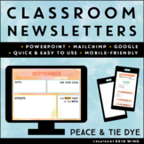Digital Classroom Newsletter Templates: Peace and Tie Dye