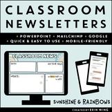 Digital Classroom Newsletter Templates: Sunshine & Rainbow