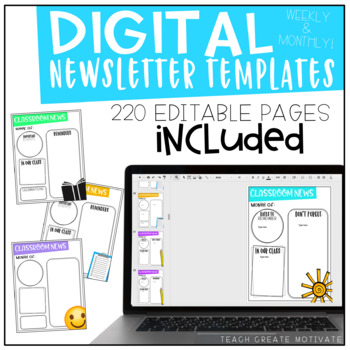 Distance Learning Classroom Newsletters | Template | Digital | Editable