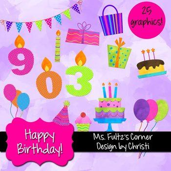 Digital Clip Art: Birthday Set
