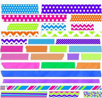 Digital Clip Art: Bright Washi Tape