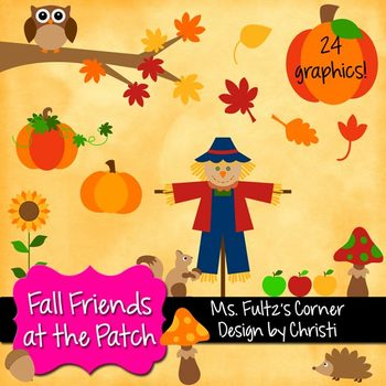 Digital Clip Art: Fall Friends at the Pumpkin Patch