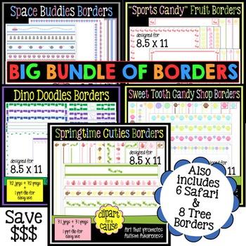 Digital Clip Art Frames: 171 Borders-Save 75% when you BUNDLE!-Color & Grayscale