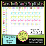 Digital Clip Art Frames: 30 Sweet Tooth Candy Shop Borders - Color & Grayscale