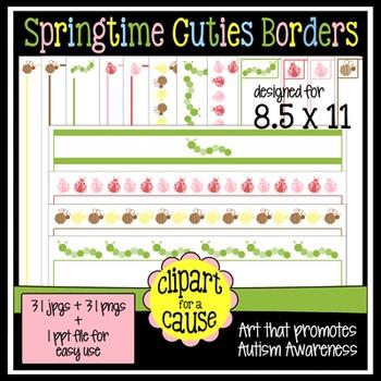 Digital Clip Art Frames: 31 Springtime Cuties Bug Borders - Color & Grayscale